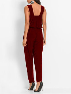 Sequins Patch Sleeveless Halter Jumpsuit For Women