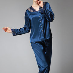 Silky Lace Embroidery Two Piece Sleepwear Suit