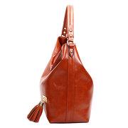 Масляная кожаная сумка Tassel Tassel Casual Retro Hobos Bag
