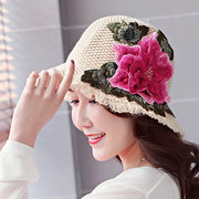 Women National Style Embroidery Peony Flower Pattern Straw Mesh Breathable Bucket Cap