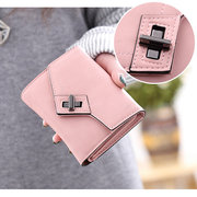 Candy Color PU Leather Hasp Short Wallet Purse For Women