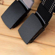 Mens Long Weave Canvas Web Elasticity Belt Outdoor Slider Buckle Durable Adjustable Plate Belt