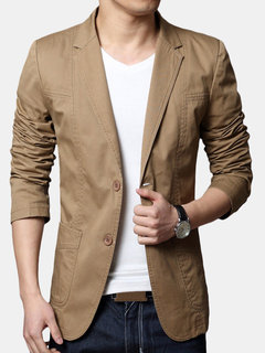 Mens 100% Cotton Slim Fit Solid Color Long Sleeve Fashion Casual Blazer