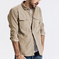 Masculina Casual Veludo Turn Down Collar Button Up Pocket Peito Cargo Camisa