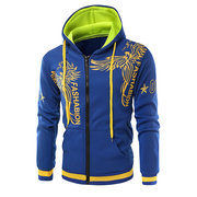 Mens 3D Printed Stitching Color Slim Fit Casual Zip Up Hoodies