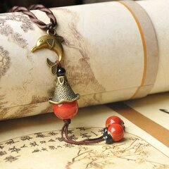 Vintage Delphis Pendant Necklace Round Beaded Small Bell Charm Necklace Ethnic Jewelry for Women