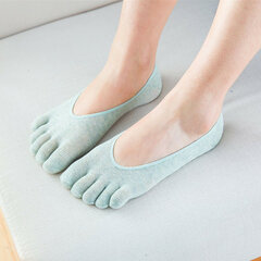 Women Cotton Breathable Anti-skid Half Toe Socks Shallow Mouth Invisible Full Five Toes Socks