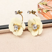 JASSY Colorful Ear Jacket Solid Flower Earrings Luxury Gold Plated Mujeres Stud Pendientes de regalo para ella