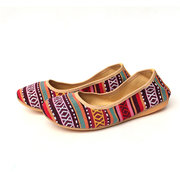 Pattern Stripe Colorful Folded Roll Egg Dance Flat Slip On Ballet Shoes