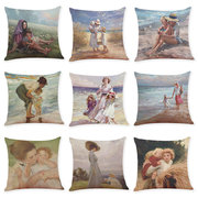 Oil Painting Style Cushion Cover Cotton Linen Square Pillow Case Mother's Day Gift