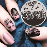 YZWLE 1 pezzo Leopard Grid Nail Art Stamp Template 3D stampa polacca Stamping Plates Stencil