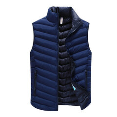Fall Mens Stylish Outdoor Stand Collar Zipper Side Pockets Solid Vests