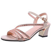 Season Thick With Fashion Women's Sandals Rhinestones High Heels Buckle With Comfortable Breathable Sandals Women's Shoes