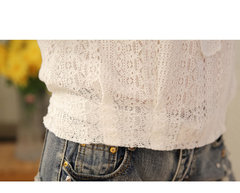 Lace embroidery  Hook flower hollow Loose Casual shirt