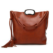 Donna 2 pezzi Tassel Solid Large Tote Handbag Retro Crossbody Borsa