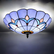 European Style Blue Color Stained Glass Ceiling Lighting Fixture Flush Mount Vintage Ceiling Light