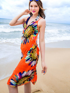 Flower Printed Bathing Suits Cover Up Colorful Tops Dress Backless Bikini Swimsuit