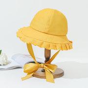 Chapeau Femme Jour Solide Couleur Dentelle Chapeau Chapeau Littéraire Rétro Bassin Chapeau Étudiant Protection Solaire Chapeau De Soleil Marée