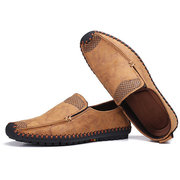 Men Hand Stitcing Soft Flat Slip Ons Casual Loafers