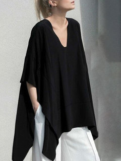 Fashion V-neck Split High Low Bat Sleeve Plus Size Blouse