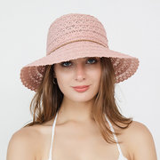 Womens Vogue Solid Bucket Cap Bow Decoration Wild Breathable Outdoor Travel Sun Straw Hat
