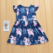 Horse Printed Toddlers Girls Kids Sleeveless Princess Dress For 1Y-7Y