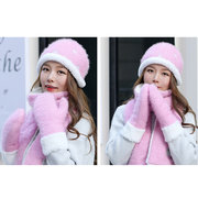 Mujer Winter Thicken Scarf Sombrero Guantes Set One Piece Knit Ourdoors bufandas largas Guantes Sombrero