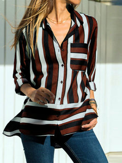 Casual Striped V-neck Lapel Long Sleeve Plus Size Shirt