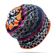 Mulheres Skullies Elastic Beanies Cap Collar Scarf Bonnet Hat Ethnic Style Chemo Cap Dual Use