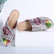 SOCOFY Genuine Leather Hollow Pattern Splicing Floral Wedges Heel Casual Slip On Sandals