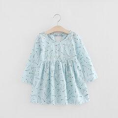 Filles imprimées en coton respirant robe manches longues taille haute robes pour les enfants en bas âge fille 2-9 ans