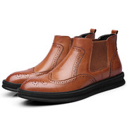 Men Brogue Carved Comfortable Outsole Elastic Band Slip On Chelsea Boots
