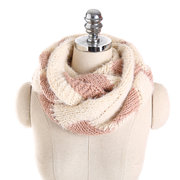 Women Soft Mohair Warm Ring Collar Scarf Casual Thicken Patchwork Geometric Scarves