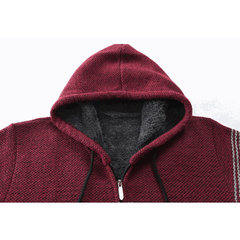 Mens Thick Velvet Fleece Thermal Knitting Hooded Color Matching Sweater