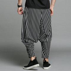 Mens Baggy Harem listrado preto Calças Casual Hip-hop Loose Crotch Pants