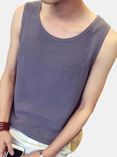 Mens 2018 New Solid Color Plus Size Cotton and Linen Loose Fashion Casual Vest Tank Tops
