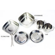 Outdoor 6-piece Cookware Camping Stainless Steel Cookware Mountaineering Picnic Set