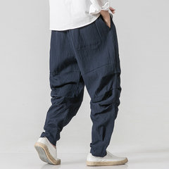 Mens Cotton Linen National Style Loose Casual Pure Color Elastic Waist Harem Pants