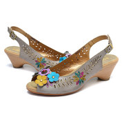SOCOFY Hollow Drip Pattern Genuine Leather Hand Painted Floral Soft Buckle Strap Sandals