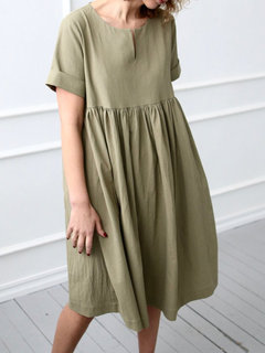 Casual V-neck Solid Color Short Sleeve Dress for Women