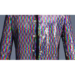 Mens Reversible Colorful Sequin Dress Suit Stage Banquet Wedding Night Club Casual Dress Blazer