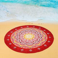 145x145 سنتيمتر جميلة مطبوعة شاطئ اليوغا منشفة جولة السرير ورقة أحمر شال