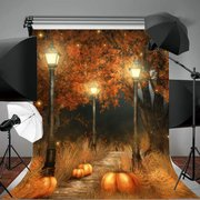 Halloween Photography Background Pumpkins Red Leaves Photography Background Cloth