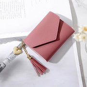 Mulheres PU Tassel Mini Short 6 Card Slot Wallet