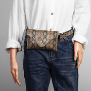 Women Snake Pattern 5.5 Inch Phone Purse PU Leather Waist Bag