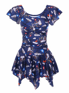 Plus Size Ruffle Floral Printing Wireless Swimdresses For Women