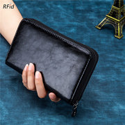 Women 24 Card Slot Long Wallet Solid Genuine Leather Phone Purse