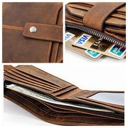 Genuine Leather 12 Card Slots Bifold Wallet Vintage Coin Bag For Men