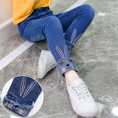 Girls Cat Embroidered Jeans For 3-15Y