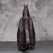 Men Genuine Leather Crossbody Bag Outdoor Leisure Retro Backpack
